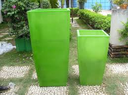 tall square planter translucent green set of 2 small