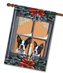 Monogram House Flags Boston Terrier Looking For Santa House Flag 28 U0027 U0027 X 40