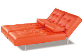Orange Sofa Bed by Trio Orange Leatherette Sofa Bed By At Home Usa