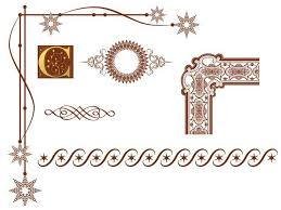 in what design style do these graphic ornaments and border