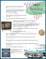 1957 year birthday trivia game 60th birthday instant download