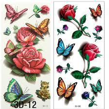 2pcs 3d rose tattoo body art chest sleeve stickers glitter