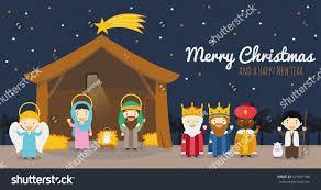 christmas nativity scene holy family three stock vector 521041990
