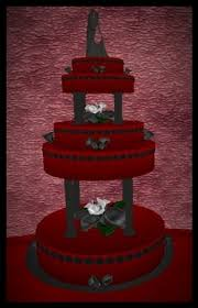 second life marketplace goth style black lilies red wedding cake