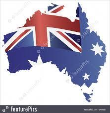 Austailia Flag Australia Flag In Map Silhouette Illustration