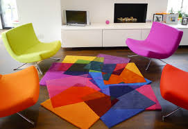 rugs futuristic living room with rainbow rug and colorful chair
