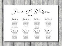 arrow wedding seating chart template instant download free