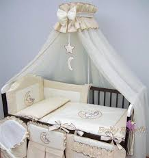 crown cot canopy drape net with decorative bow moon star