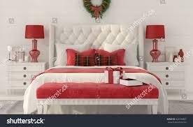 3d illustration christmas interior white bedroom stock