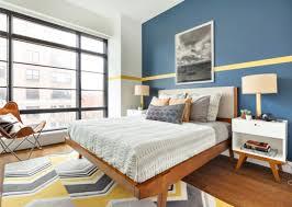 la chambre bleu chambre à coucher peinture de la chambre bleu ligne jaune