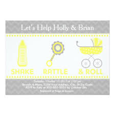 shake rattle and roll baby shower baby rattle invitations announcements zazzle