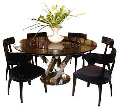 Lazy Susan Dining Room Table Ac833 180 Black High Gloss Crocodile Textured Glass Dining Table