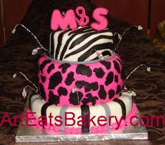 three tier pink and black animal print custom birthday cake