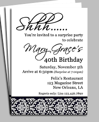 Free Birthday Invitation Cards To Print Black Damask Surprise Party Invitation Printable Or Printed
