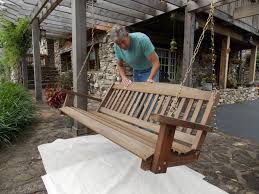 Swing Pergola by Preserving Our Cedar Porch Swing Minwax Blog
