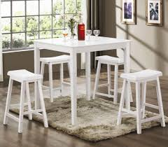 Modern High Top Tables by White Finish Modern 5pc Counter Height Dining Set W Square Top