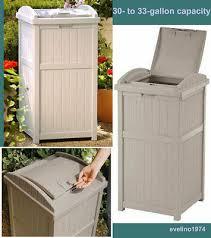 outdoor trash hideaway garbage can waste bin deck yard 30 gallon