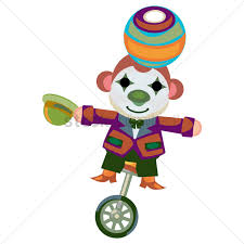 free circus monkey with clown face paint balancing a ball on a
