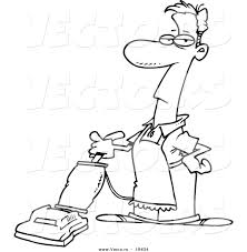 vector of a cartoon man vacuuming outlined coloring page by