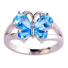 blue butterfly rings images Women beautiful new butterfly design blue sapphire silver ring jpg