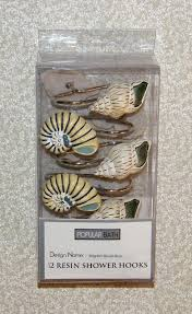 12pc seashells shower curtain hooks popular bath blue nautical sea