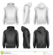 set of black and white male hoodies with sample text space stock