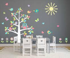 Chambre Couleur Pastel by Couleur Pastel Complet Motif Chouette Arbre Sticker Mural Nursery