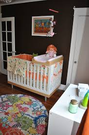 Changing Table Mobile Crib With Changing Table Nursery Modern With Brown Walls Changing