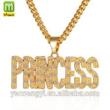 Cheap Name Necklaces 2017 New Arrival Diamond Cheap Princess Alphabet Letter Gold
