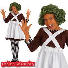 Oompa Loompa Halloween Costumes Girls Oompa Loompa Fancy Dress Costume Willy Wonka Factory Worker