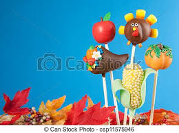 variety of thanksgiving cake pops against blue background stock