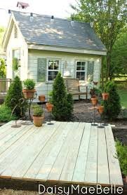 easy deck with concrete blocks and railroad ties hometalk