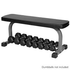 xmark fitness flat weight bench with dumbbell rack xm 4414 live