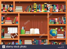 a vector illustration of wooden bookshelves with copyspace stock