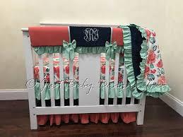Mini Crib Bedding Coral Navy And Mint Mini Crib Bedding Baby Mini Crib Mini