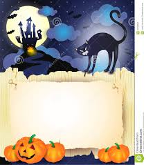 halloween background black cats halloween background with black cat pumpkins and old paper stock