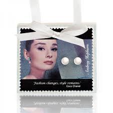 hepburn earrings hepburn postcard with pearl stud earrings coco chanel