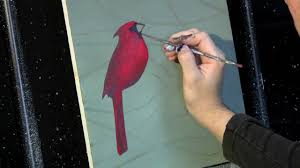 time lapse acrylic painting cardinal on the branch by tim gagnon