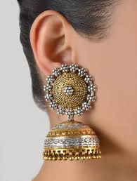 jhumki style earrings in gold buy naqqashi granulated jhumkas online sterling jewelry indian
