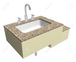 white built in square bathroom sink with chrome faucet and
