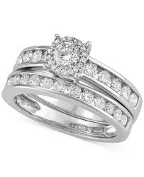 macy s wedding rings sets channel set halo bridal set 1 1 2 ct t w in 14k white