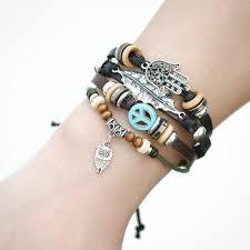 leather leaf bracelet images Real leather vintage punk owl leaf bracelet for men women jpg