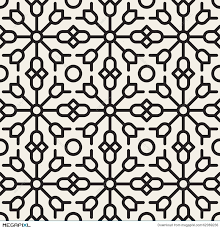 vector seamless black and white geometric ethnic floral line