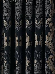 Black Gold Curtains Newcastle Blockout Damask Eyelet Curtain Thermal Insulated 4 Sizes