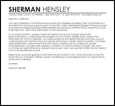 Inventory Analyst Cover Letter Performance Analyst Cover Letter