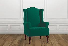 green chair slipcover sure fit stretch grand marrakesh wing chair slipcovers