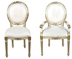 Silver Dining Chair Set Of 10 Silver Gold Balloon Back White Muslin Dining Chairs