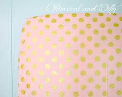 Gold Polka Dot Bedding Baby Bedding Crib Bedding Pink Gold Mint Feathers