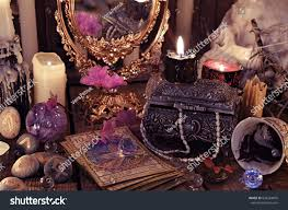 black and purple halloween background divination rite tarot cards flowers mystic stock photo 638224879