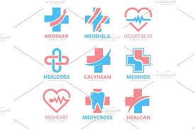 set of medical cross logo pharmacy logo design template tooth